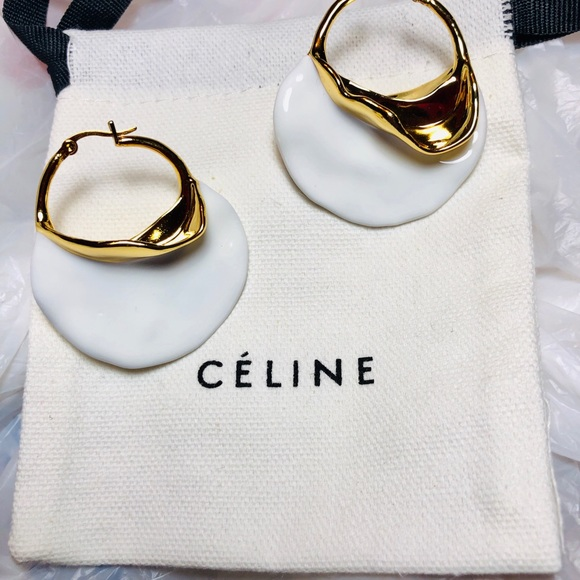 1fee0ea697c63 Celine Massive brass GP white large earrings